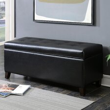 Contemporary Button Tufted Shoe Storage Leather Ottoman by AC Pacific