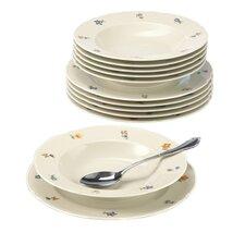 12-tlg. Tafelservice Marieluise Elfenbein Blütenmeer aus Porzellan für 6 Personen