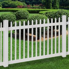 Nantucket Vinyl Picket Fence with Post and Pipe Anchor Kit