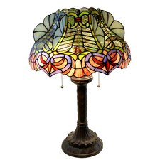 "Zohndra 2-Light Abstract Stained Glass 16.5"" Table Lamp"