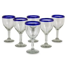 Hand Blown Recycled Glass Goblet (Set of 6)
