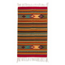 Zapotec Hand-Loomed Red / Blue / Orange Area Rug