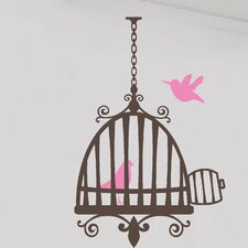 Bird with Cage Kitchen Home Vinyl Wall Decal