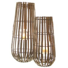 Windlicht aus Holz und Metall