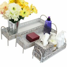 3-Piece Metal Storage Bathroom Accessory Tray Set