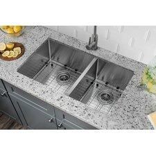 """32"""" x 19"""" Stainless Steel 16 Gauge Radius 60/40 Kitchen Sink"""