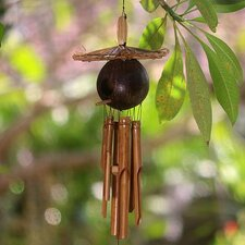 Bamboo Adorned with A Coconut Shell Hut Wind Chime