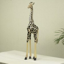 African Hand Carved and Painted Wood Tall Giraffe Statue