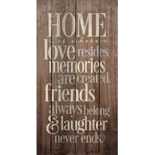 'Home is Where Love Resides' by Tonya Gunn Textual Art on Plaque
