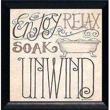'Soak & Unwind Texture Coated Bathroom' by Deb Strain Framed Textual Art
