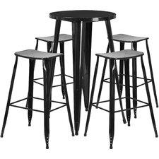 Backless Saddle Seat 5 Piece Bar Set by Flash Furniture