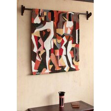 Geometric Hand-Woven Wool Tapestry and Wall Hanging