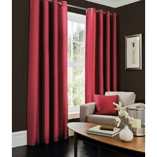 Plain Faux Silk Eyelet Single Curtain Panel