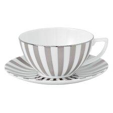 Platinum Fine Bone China Striped Tea Saucer