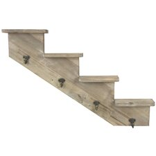 Wooden Stepped Shelf to Left Wall Mounted Hook Rack