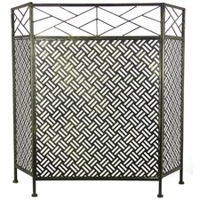 Abstract Design 3 Panel Steel Fireplace Screen