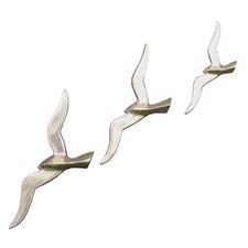 3 Piece Aluminum Flying Birds Wall Décor Set