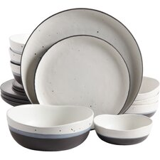 Thistle Double Bowl 16 Piece Dinnerware Set, Service for 4