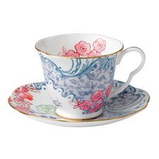 Butterfly Bloom Blue Peony Cup and Saucer (Set of 2)