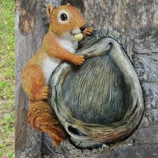 Red Squirrel Resin Animal Bird Feeder