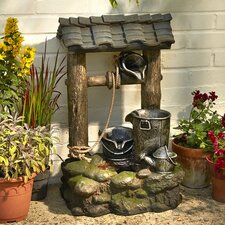 Wishing Well Polyester Resin Water Fountain with Light