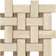 Travertini Random Sized Matte Mosaic Weave Floor and Wall Tile in Beige