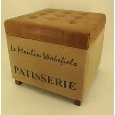 Standardhocker Parisian Print aus Leder