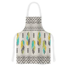 Painted Feathers Cream by Amanda Lane Tribal Artistic Apron