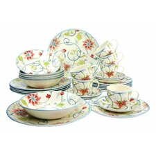 Botanical Spiral 30 Piece Dinnerware Set, Service for 4
