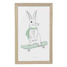 Rabbit on Skateboard Framed Art