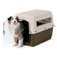 Large Vari Ultra Fashion Dog Kennel® in Bleached Linen and Beechnut