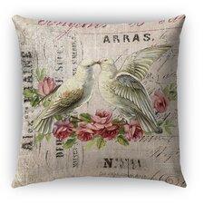 Love Birds 3 Burlap Indoor/Outdoor Throw Pillow by Kavka