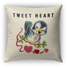 Tweet Heart 2 Burlap Indoor/Outdoor Throw Pillow by Kavka