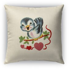 Tweet Heart Burlap Indoor/Outdoor Throw Pillow by Kavka
