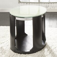 Loesch Cracked Glass Round End Table by Wade Logan