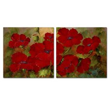 'Red Poppies' Wall Art Set