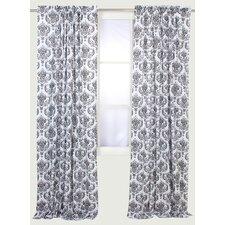 Classic Damask Semi-Sheer Rod Pocket Single Curtain Panel