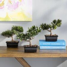 Silk Bonsai Desk Top Plant in Planter (Set of 3)
