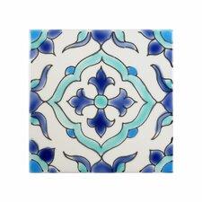 mediterranean 4 x 4 ceramic carthage decorative tile in - Decorative Tile