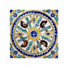 "Mediterranean 6"" x 6"" Ceramic Carthage Mosaic Decorative Tile in Yellow & Blue"