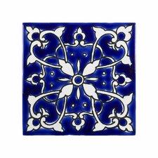 "Mediterranean 4"" x 4"" Ceramic Azur Decorative Tile in Blue/White"