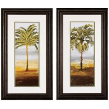 northport beach palm framed painting print set set of 2