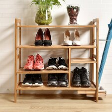 Bamboo Tier Shoe Storage With Hidden Umbrella Stand