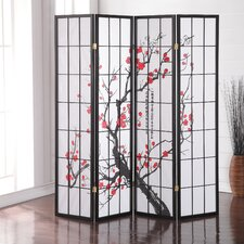 "Glebe 71"" x 72"" Japanese Plum Blossom 4 Panel Room Divider"