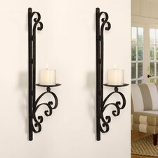 3-Dimensional Scroll Iron Wall Sconce Candle Holder (Set of 2)