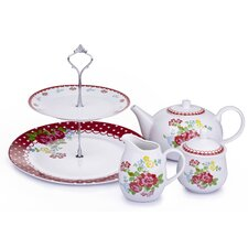 4 Pieces Porcelain Retro Rose Tea Set