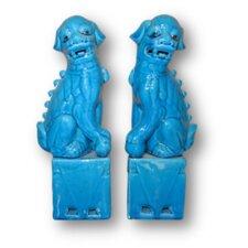 Sitting Foo Dog 2 Piece Figurine Set