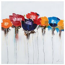 Revealed Artwork Jeweled Poppies I Painting on Wrapped Canvas