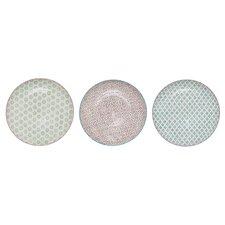 """3 Piece Patrizia Round Ceramic 10"""" Dinner Plate Set"""