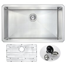 """Vanguard 32"""" x 19"""" Single Bowl Undermount Kitchen Sink with Drain Assembly"""